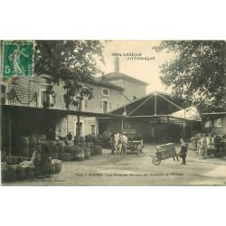 WW 07 RUOMS. Les Grandes Brasseries Hugon et Payan avec attelage livraisons de tonneaux 1911