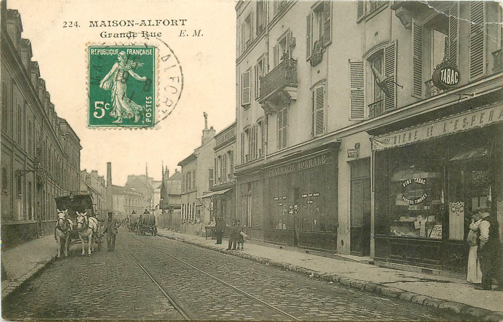 WW 94 MAISON-ALFORT. Tabac Café et Pharmacie sur Grande rue 1911