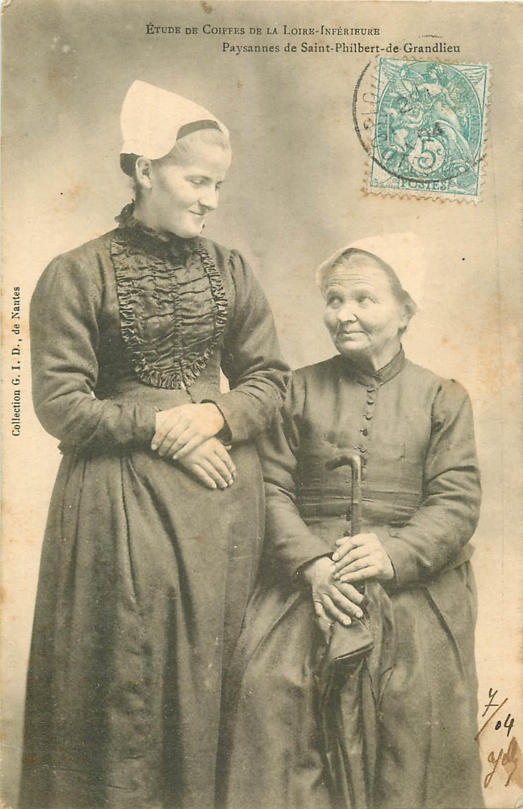 WW PAYS DE LOIRE. Paysannes de Saint-Philbert-de-Grandlieu 1904 étude de Coiffes