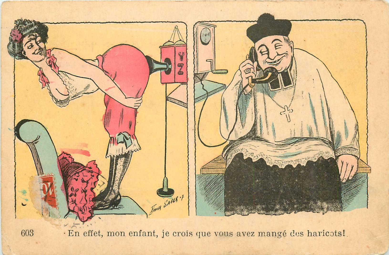 WW Illustrateur XAVIER SAGER. Humour le téléphone avec Curé et jeune femme Coquine