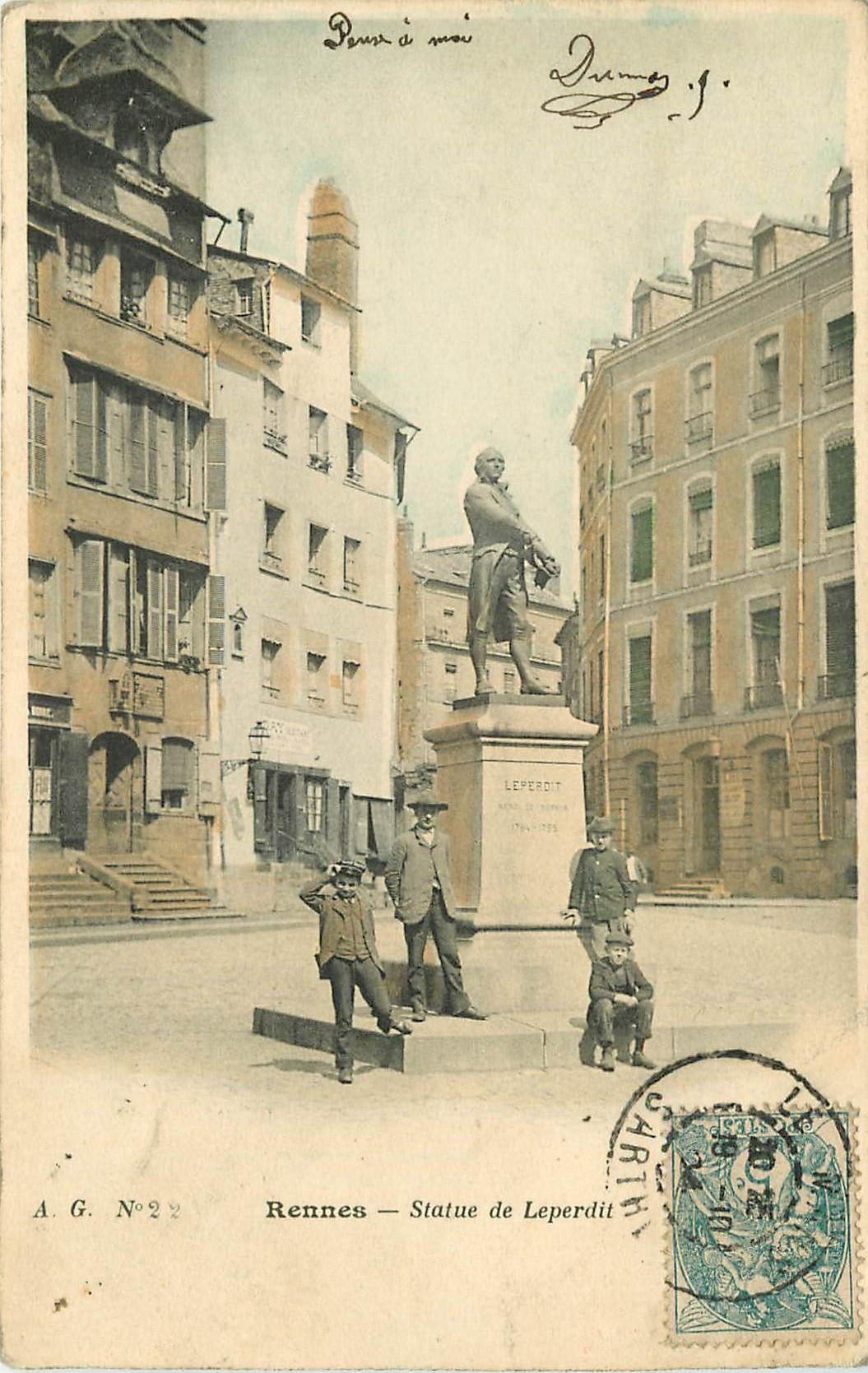 WW 35 RENNES. Statue Leperdit 1904 en couleur...