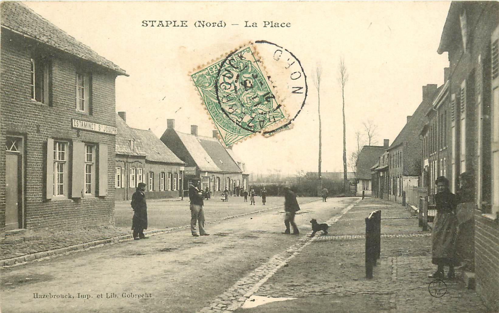 WW 59 STAPLE. Estaminet Saint-Joseph sur la Place 1907