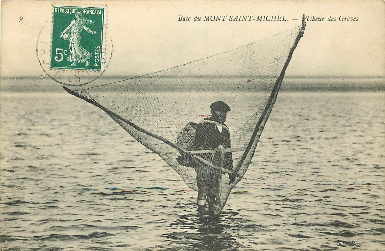 WW 50 BAIE DU MONT SAINT-MICHEL. Un Pêcheur des Grèves vers 1908. Métiers de la Mer