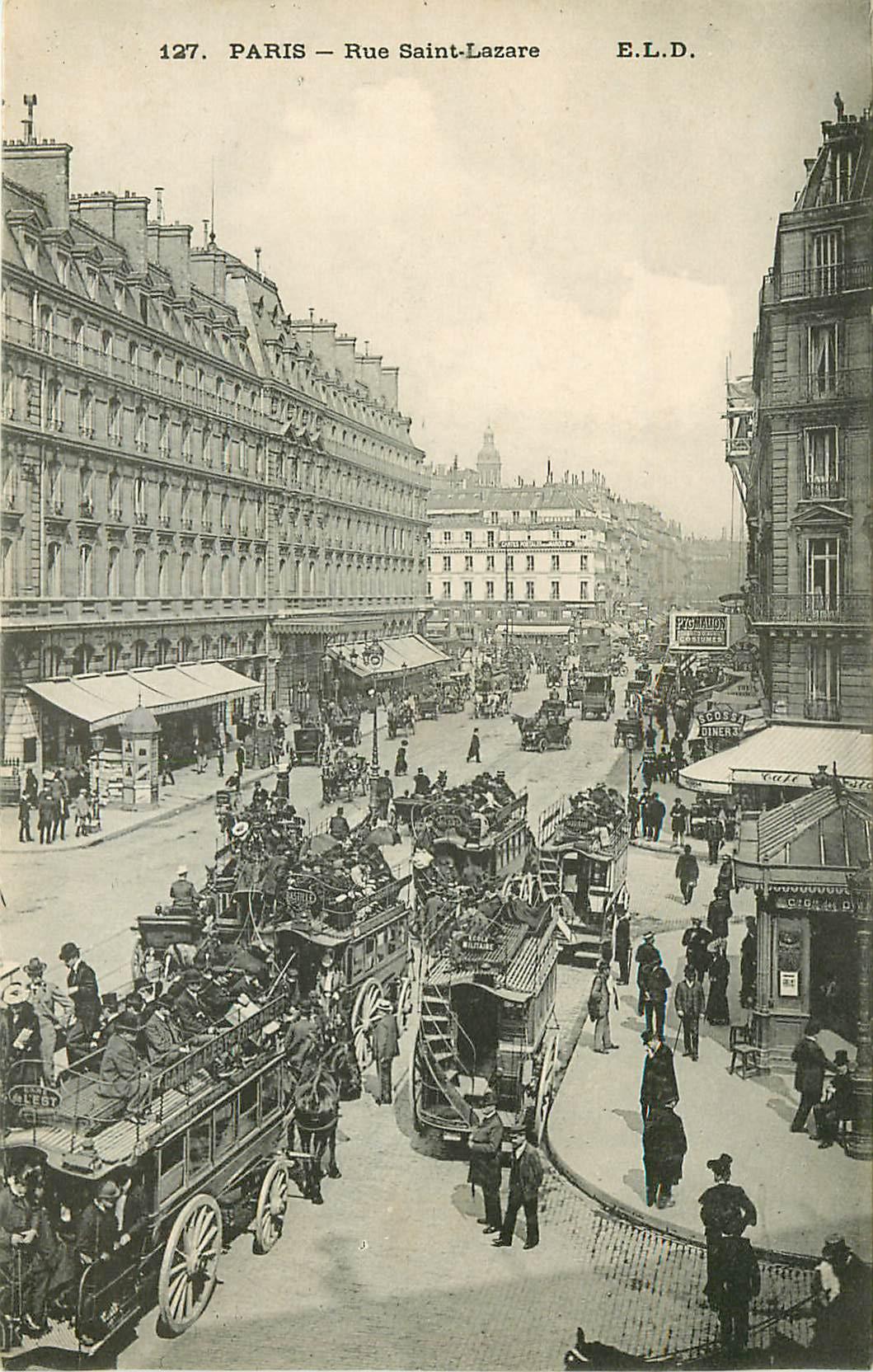 WW PARIS IX. Hippomobiles à impériale rue Saint-Lazare