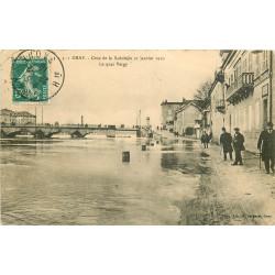 WW 70 GRAY. Quai de Vergy pendant la Crue de la Saône en 1910