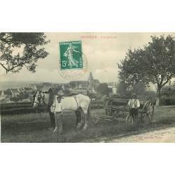 WW 95 OMERVILLE. Vue générale avec Agriculteurs et leur charrue tractée par Chevaux 1910
