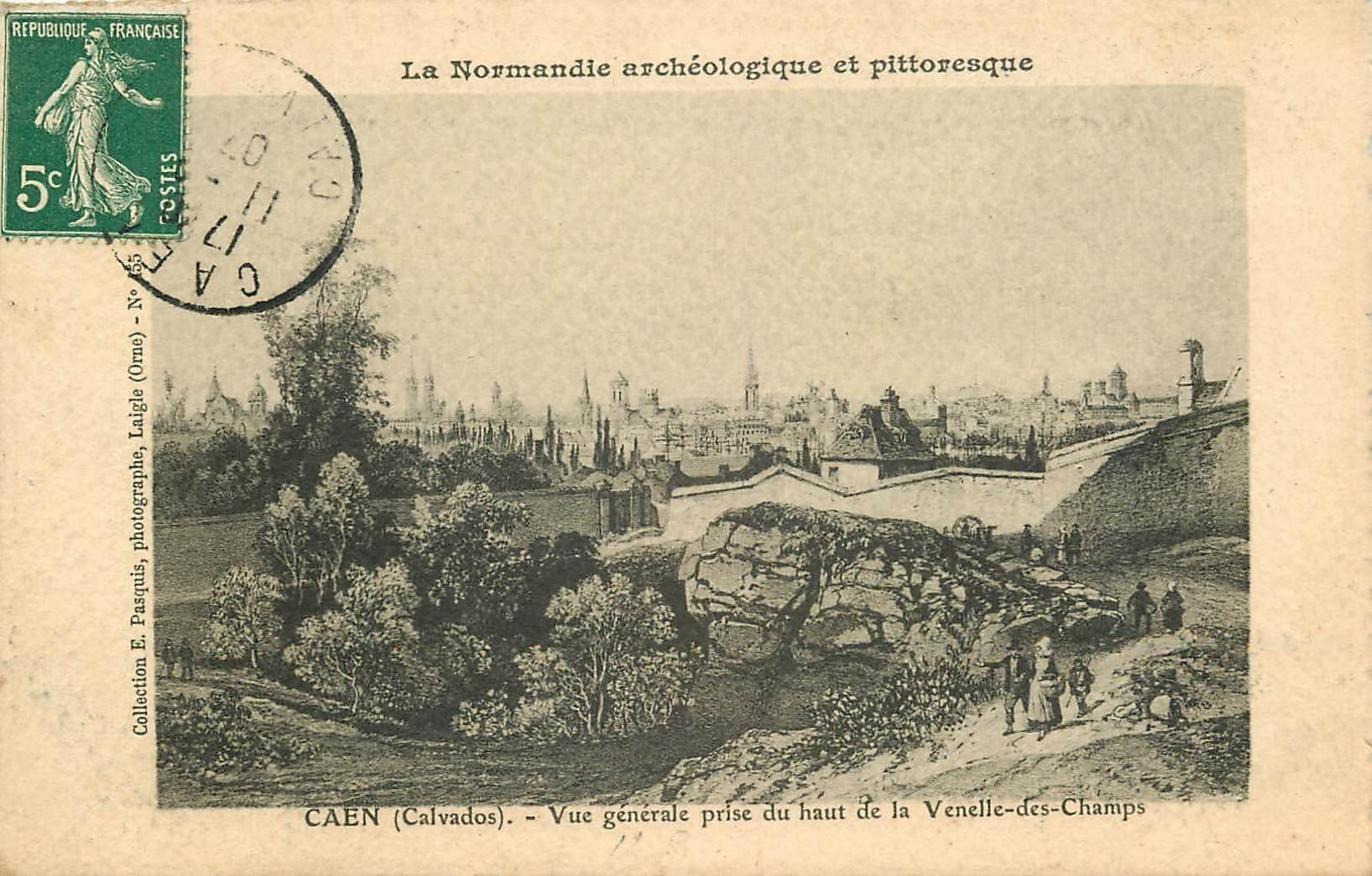14 CAEN. Top Promotion vue prise du haut de la Venelle-des-Champs 1907 carte papier velin collection Pasquis