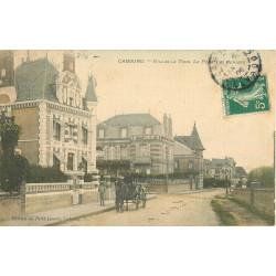 WW 14 CABOURG. Fiacre devant Villas la Tour la Péga les Cerises. Carte toilée 1906