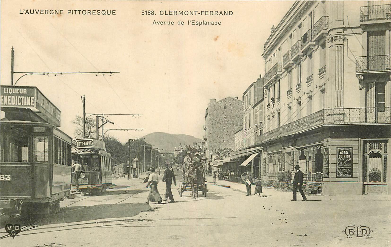 WW 63 CLERMONT-FERRAND. Tramways devant Hôtel du Midi Avenue de l'Esplanade
