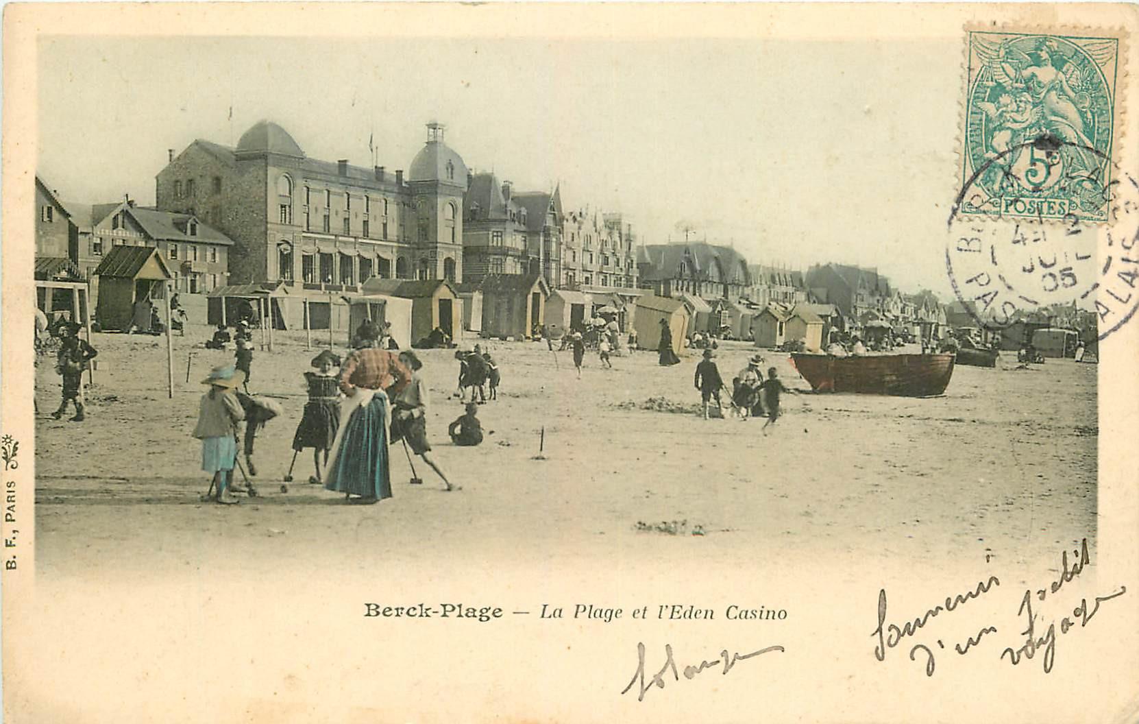 WW 62 BERCK. Jeu de Croquet sur la Plage et l'Eden Casino 1905