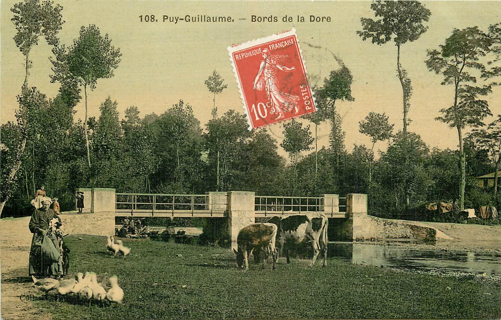 WW 63 PUY-GUILLAUME. Eleveuse de canards ou oies avec vaches sur les Bords de la Dore 1908