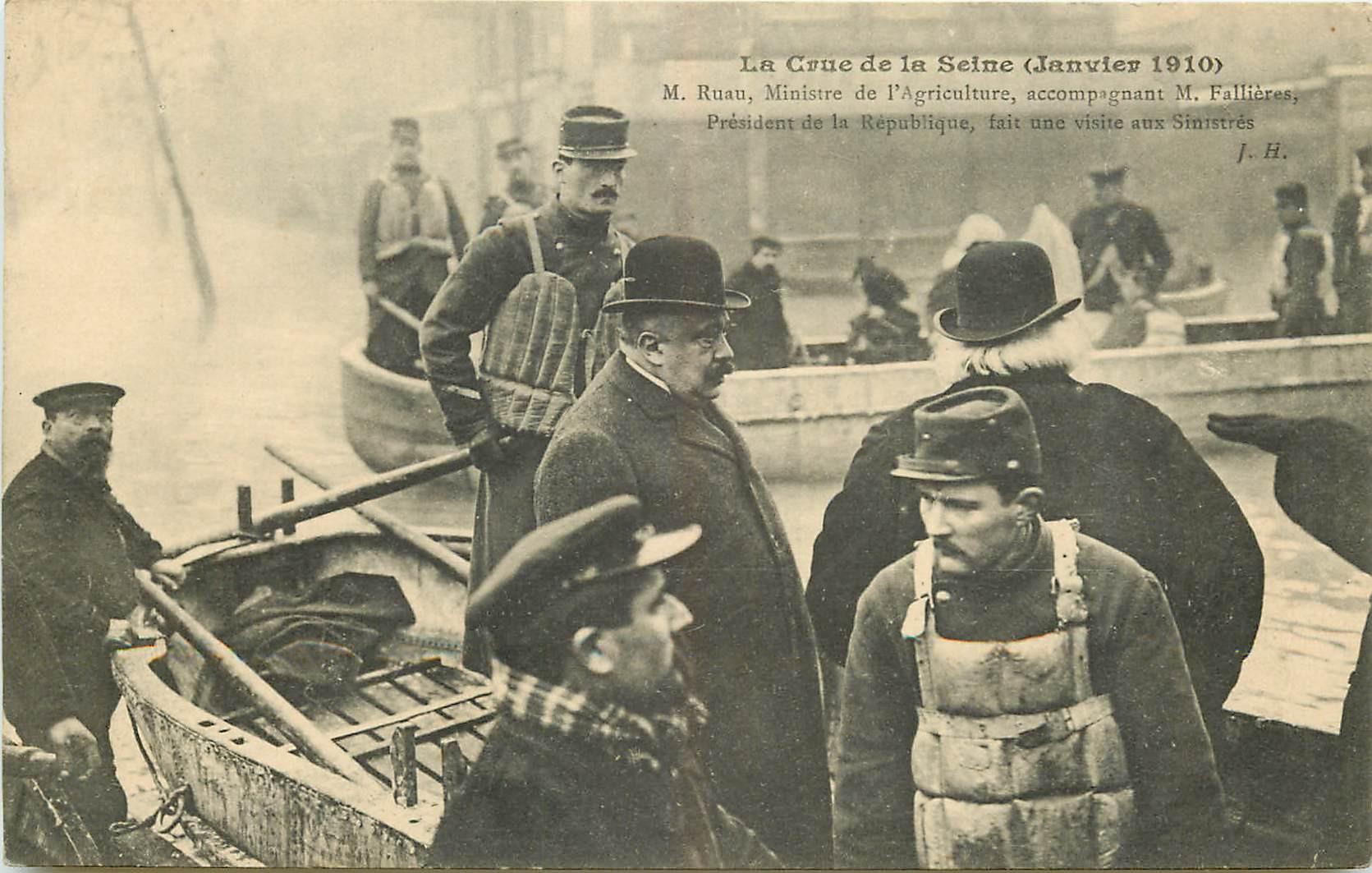 WW PARIS. Crue Seine 1910. Ruau Ministre Agriculture et Fallières Président République