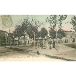 WW 69 FRANCHEVILLE-LE-BAS. Tramway sur la Place avec le Café du Commerçant vers 1905