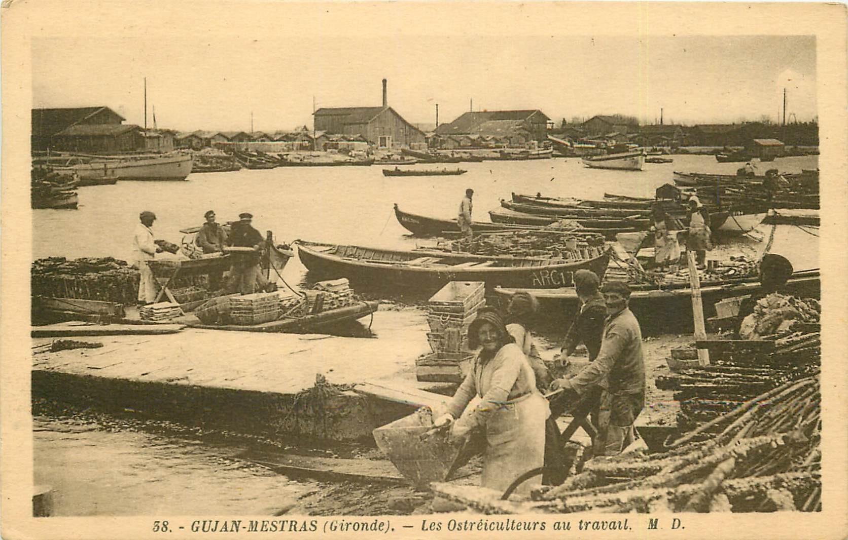 33 GUJAN-MESTRAS. Les Ostréiculteurs au travail 1931