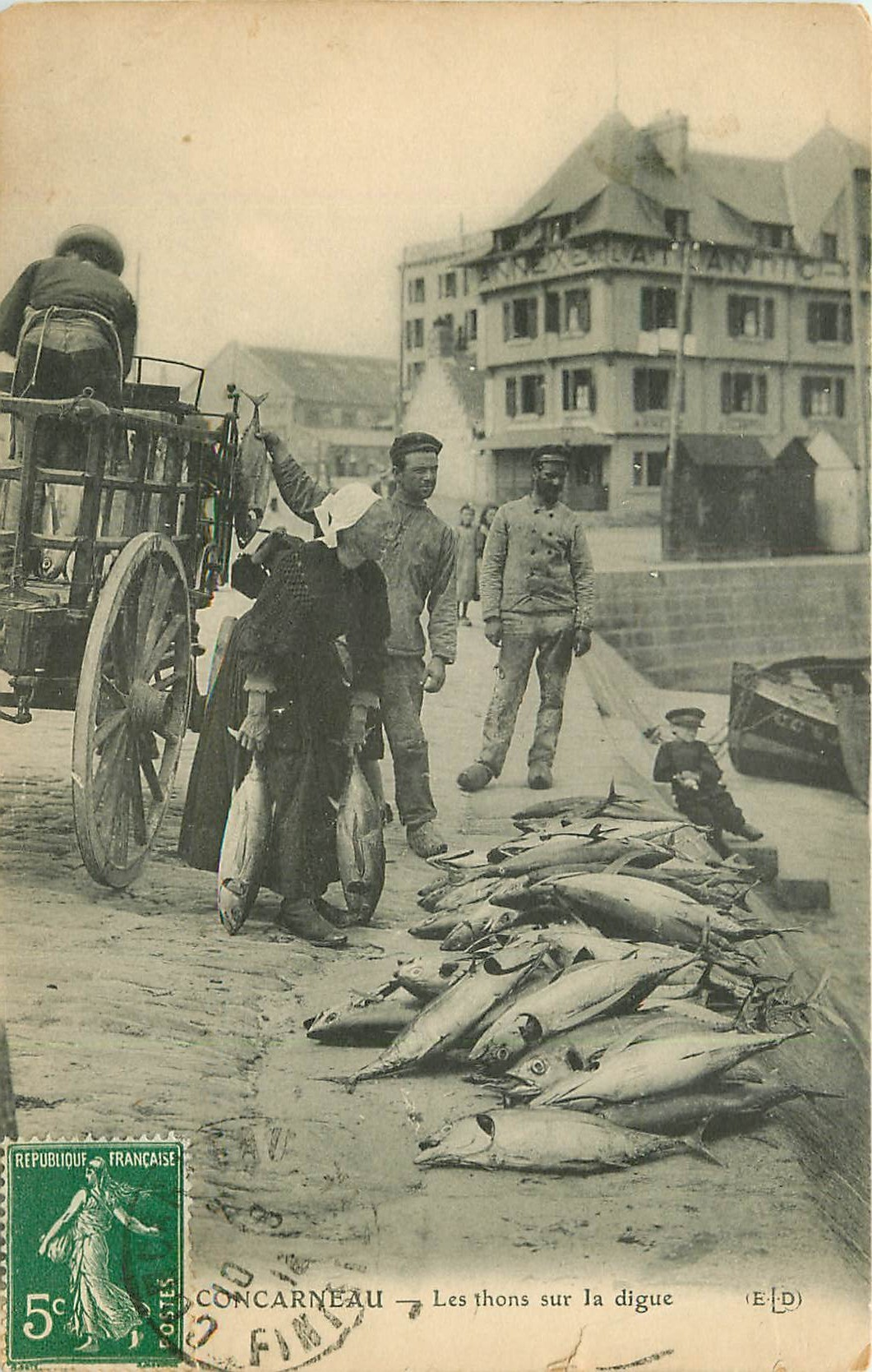 29 CONCARNEAU. Les Thons sur la Digue 1913 (défauts)