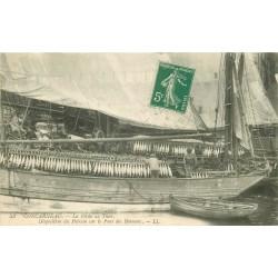 29 CONCARNEAU. La Pêche au Thon disposition du Poisson sur le Pont des Bateaux