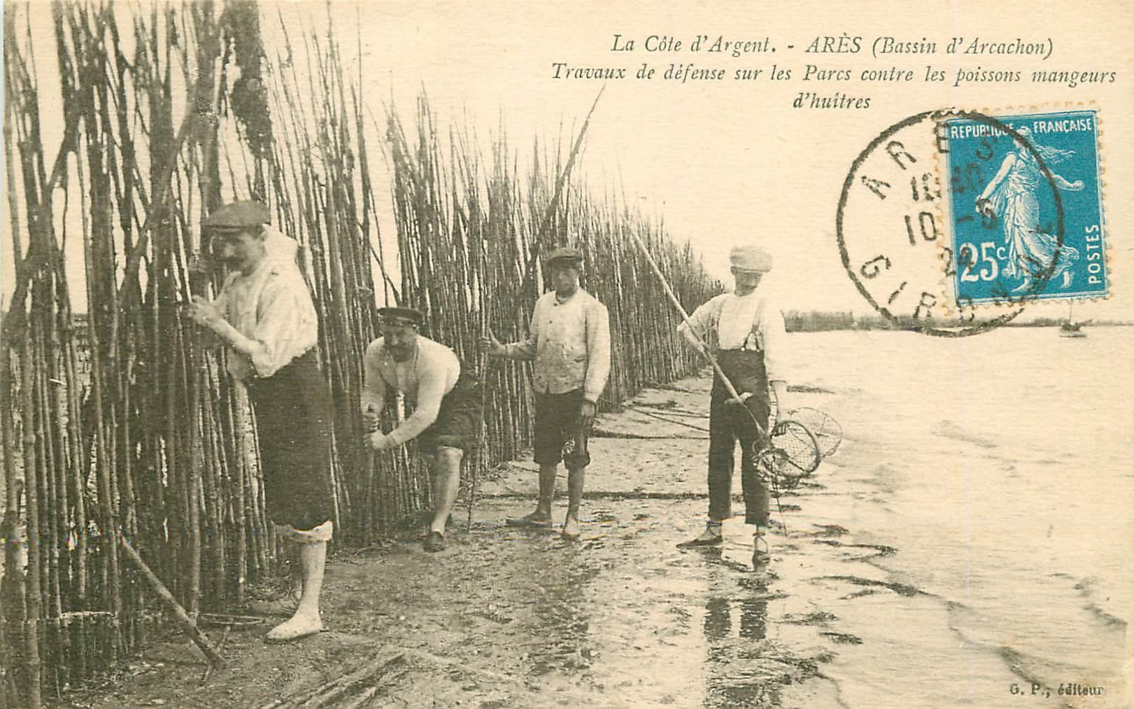 33 ARES. Travaux défense Parcs contre Poissons mangeurs d'Huîtres 1924