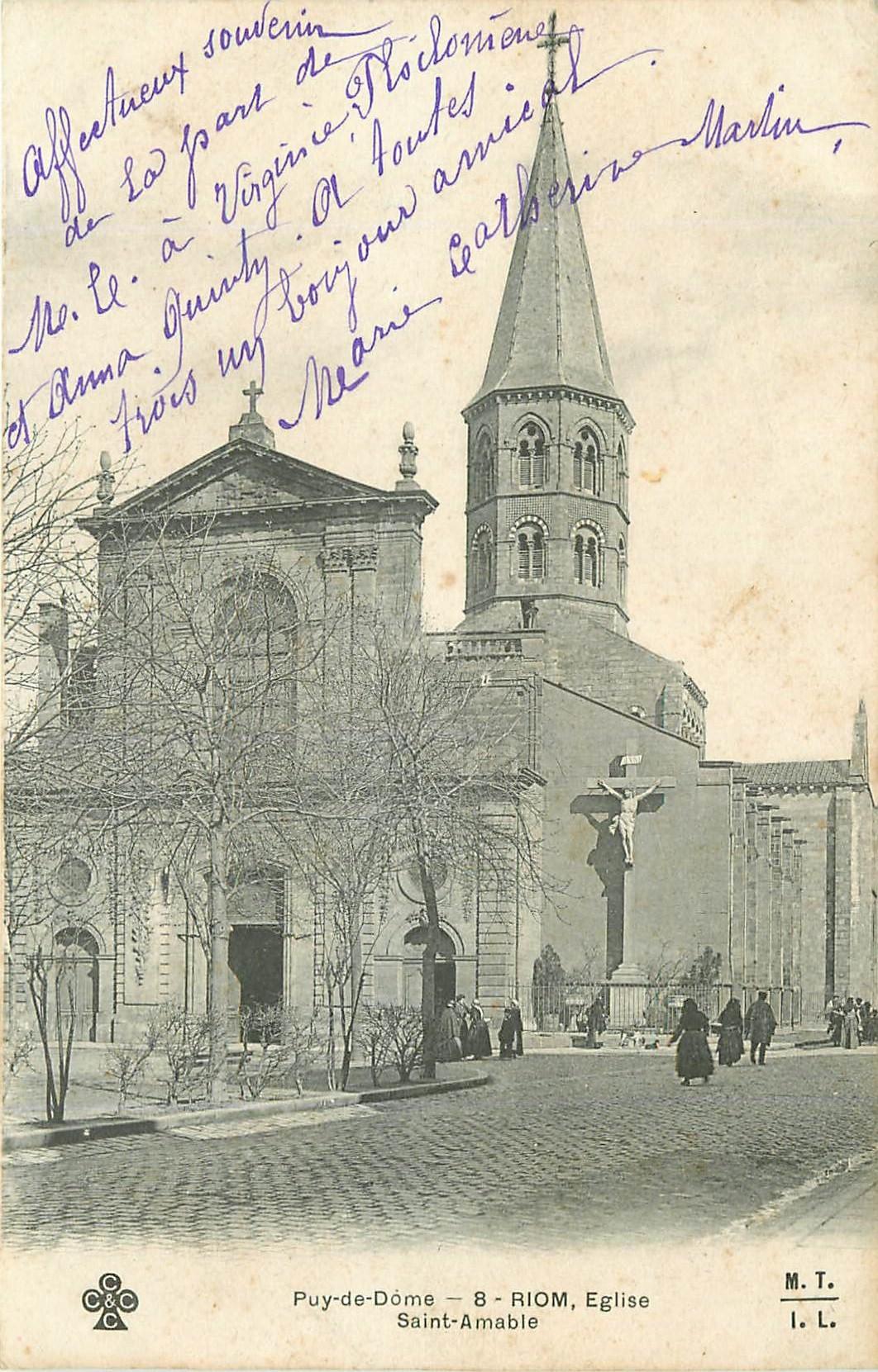 WW 63 RIOM. Eglise Saint-Amable. Carte rare car écrite sans n° et nom de rue !...