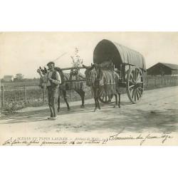 WW 40 LES LANDES. Un attelage de Mules 1928