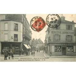 WW 95 ARGENTEUIL. Coiffeur Rues de la Chaussée et Samson Place de l'Eglise 1917