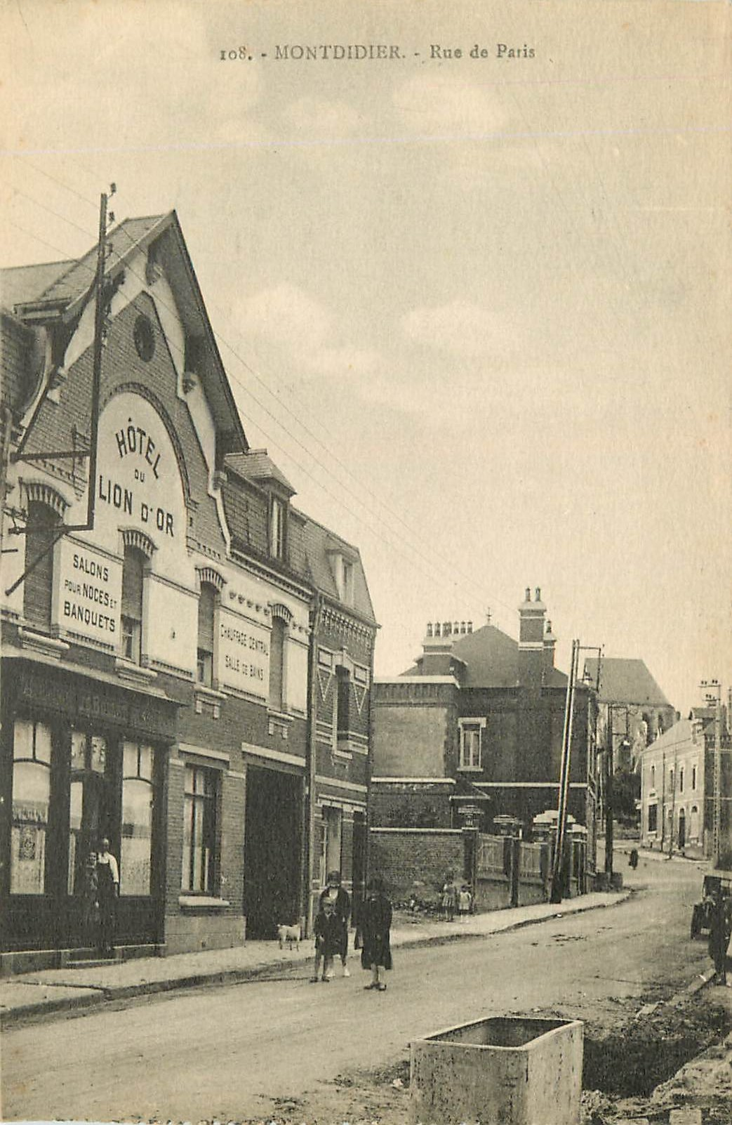 WW 80 MONTDIDIER. Hôtel du Lion d'Or rue de Paris 1939