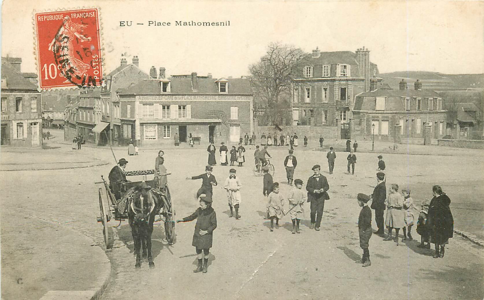 WW 76 EU. Ecoles et Café Place Mathomesnil 1908