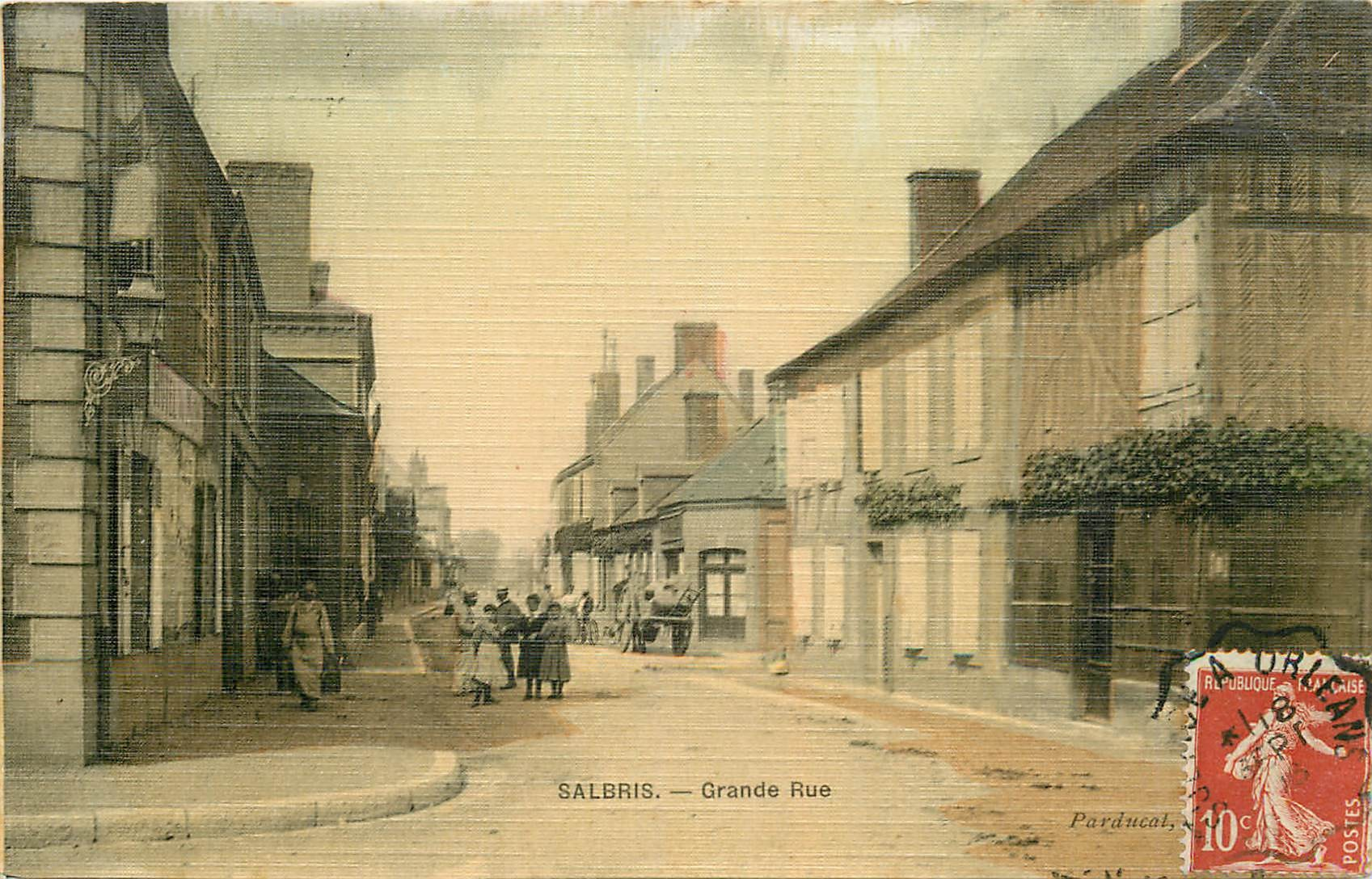 WW 41. SALBRIS. Grande Rue. Carte toilée 1916