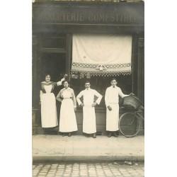 WW A IDENTIFIER. Charcuterie et Comestibles avec Livreur. Photo carte postale ancienne