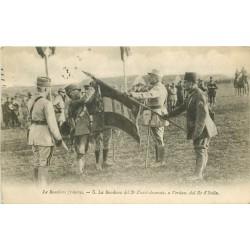 WW GUERRE 1914. Les Drapeaux français du 3° Zouave décorés par le Roi d'Italie 1918