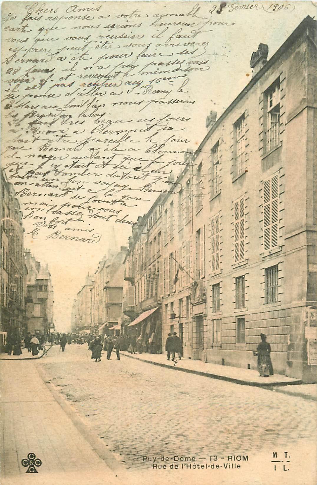 WW 63 RIOM. La Banque de France rue de l'Hôtel de Ville 1906