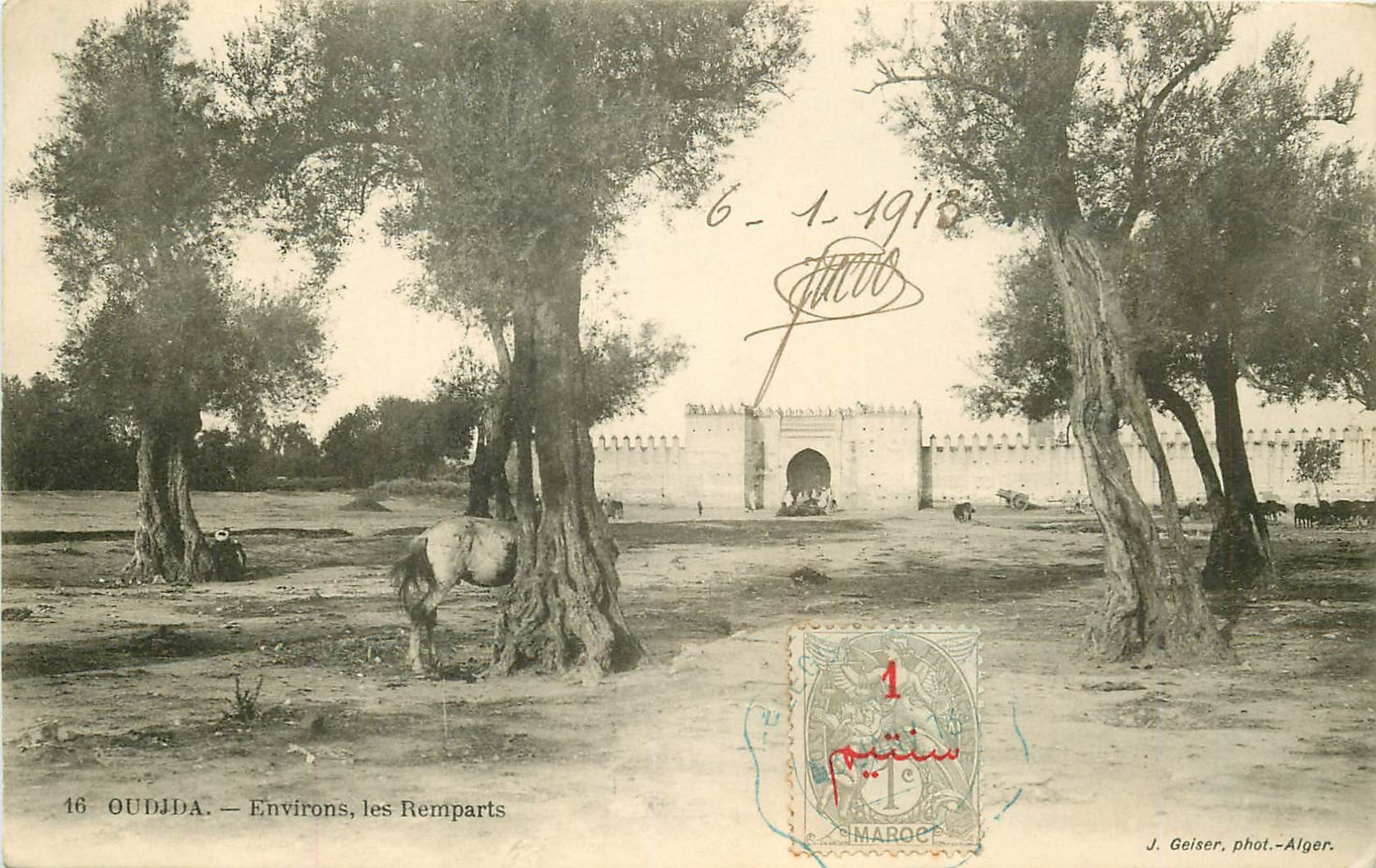 WW OUDJDA. Environs des Remparts. Rare timbre 1 centime 1913