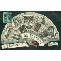 WW 63 RIOM. Souvenir en multivue sur éventail 1908