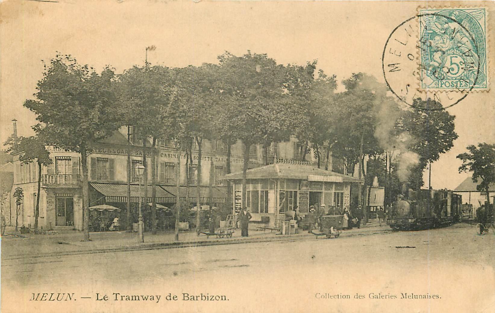 WW 77 MELUN. Le Tramway de Barbizon et l'Hôtel de la Gare 1905