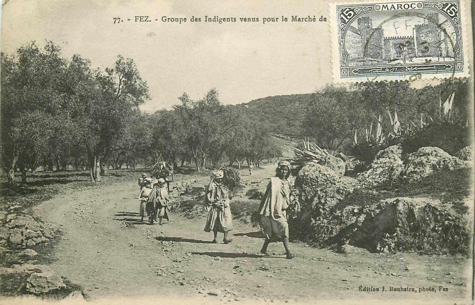WW FEZ FES. Groupe des Indigents venus pour le Marché 1919 Maroc