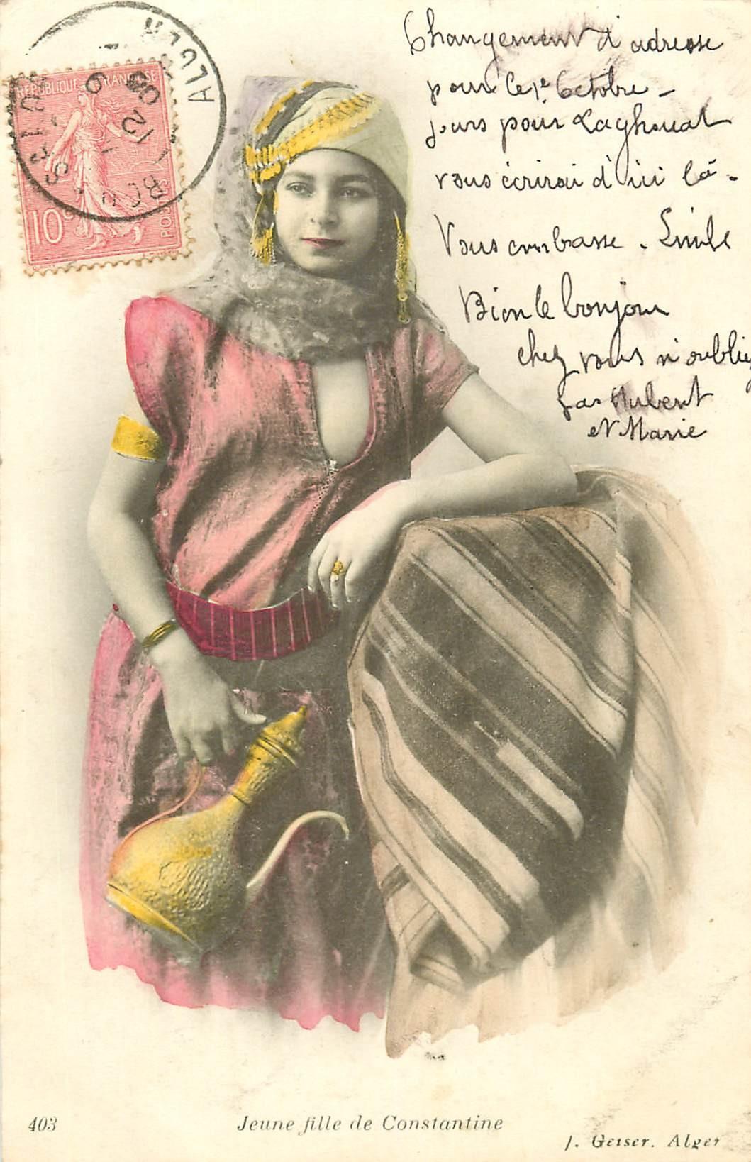 WW ALGERIE. Jeune fille de Constantine servant le thé 1906