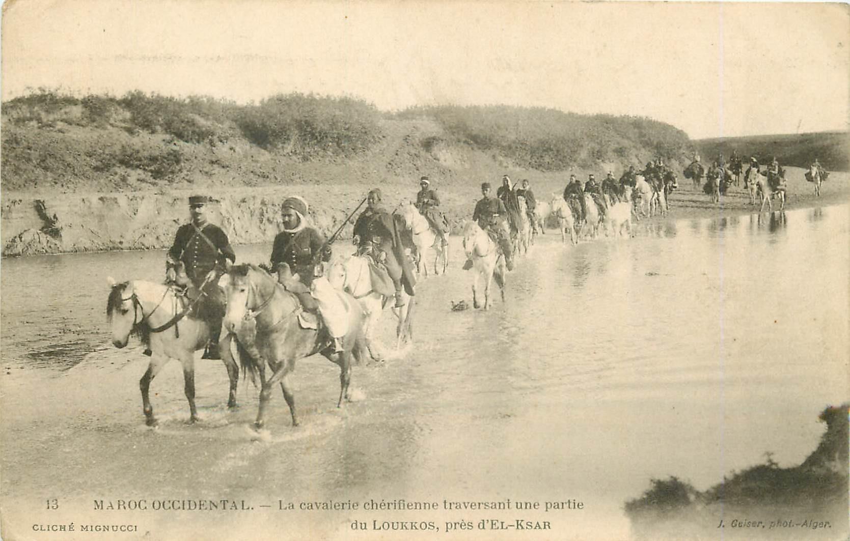 WW MAROC. Cavalerie chérifienne traversant le Loukkos près El-Ksar