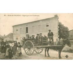 WW 33 FRONSAC. Départ en attelage pour les Vendanges 1906