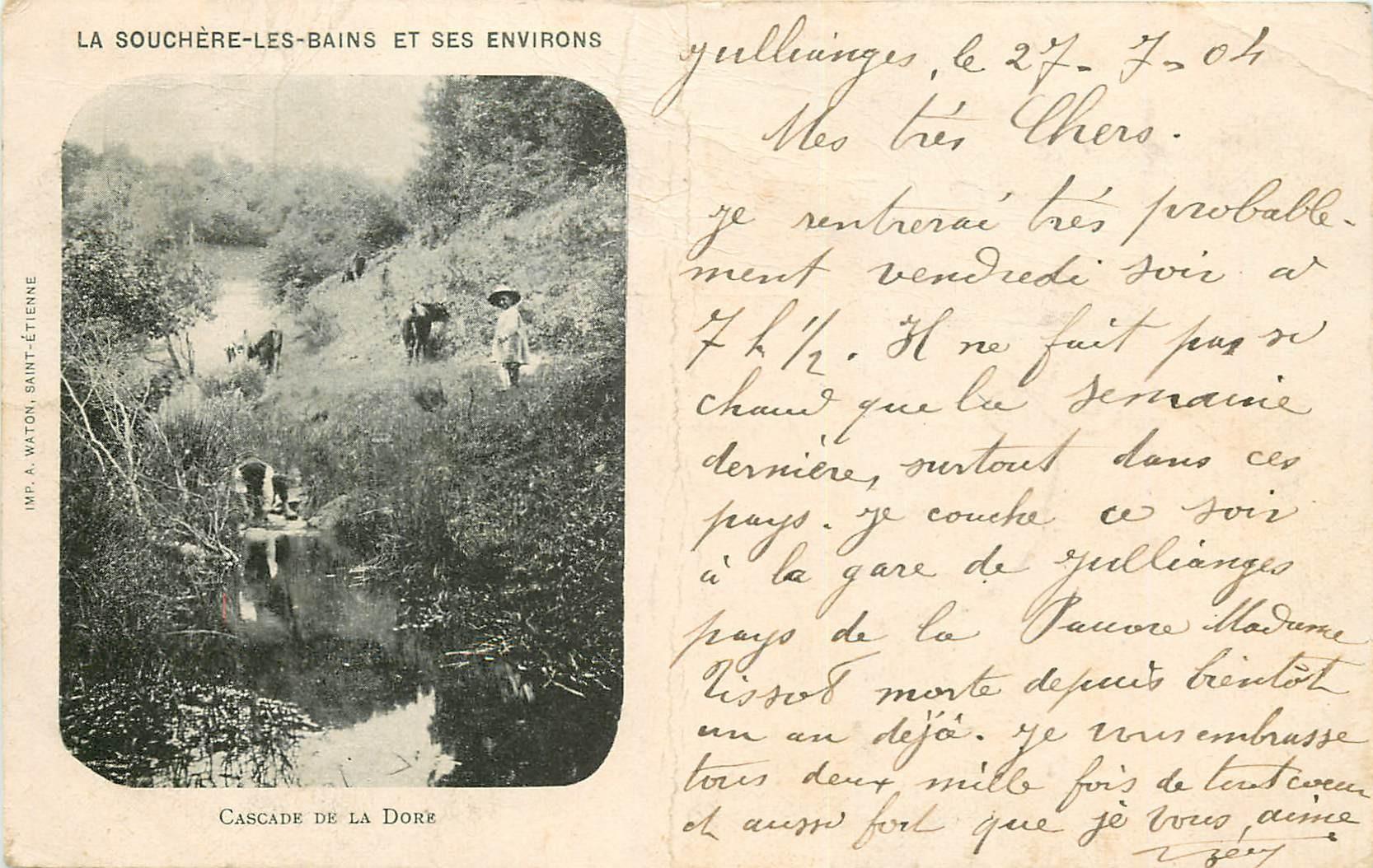 WW 43 LA SOUCHERE-LES-BAINS. Cascade de la Dore 1904 animation