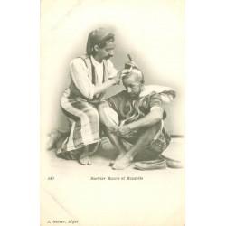 WW ALGERIE. Barbier Maure et Mozabite vers 1900