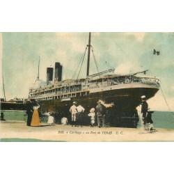 """WW TUNIS. Paquebot """" Le Carthage """" dans le Port 1914"""