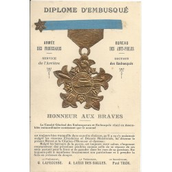 WW MILITARIA HUMOUR. Dîplôme d'embusqué avec véritable ruban bleu et médaille en ajouti