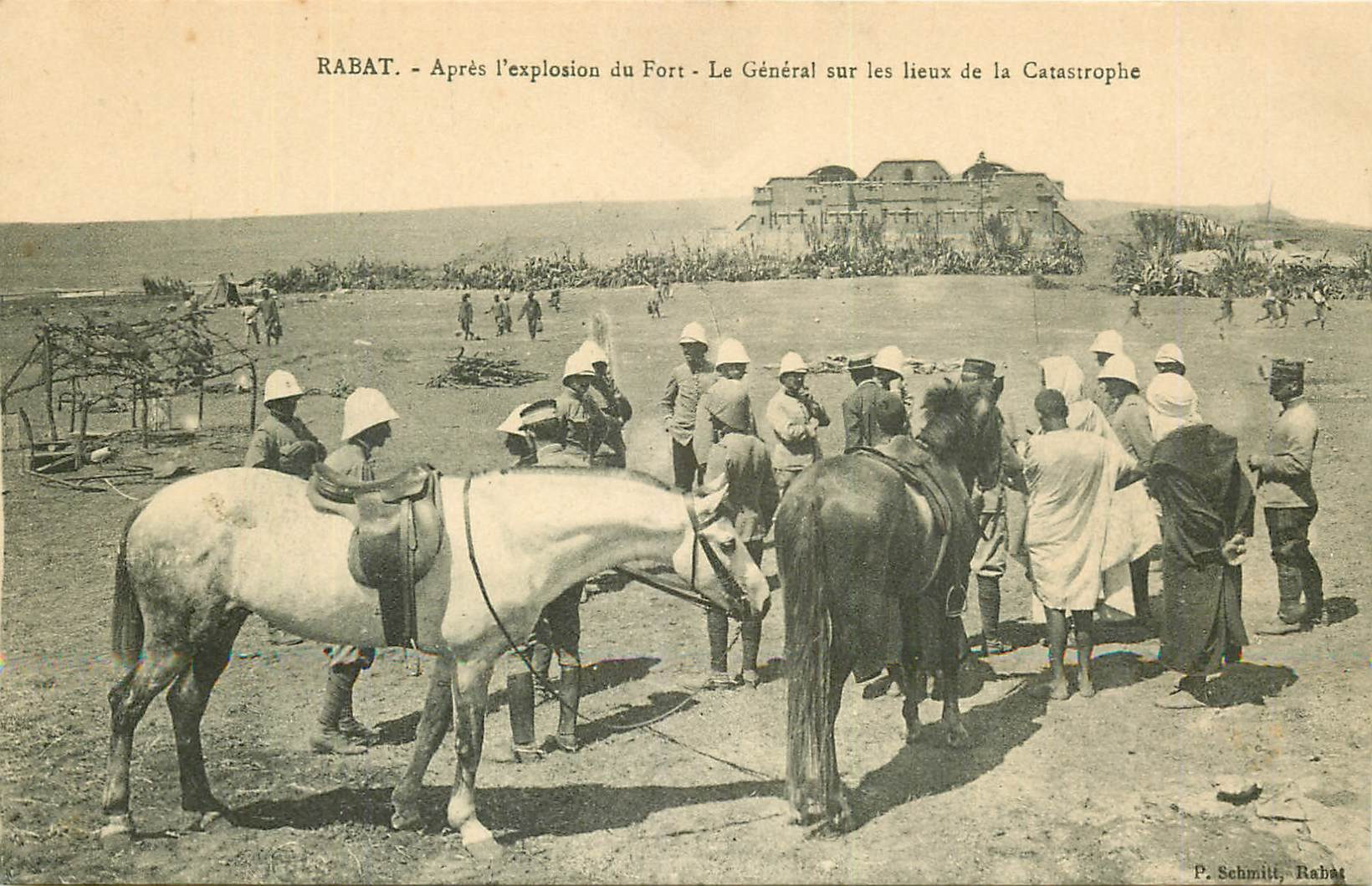 WW CAMPAGNE DU MAROC 1912. Le Général après l'explosion du Fort à Rabat