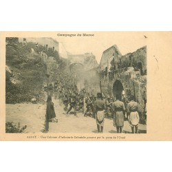 WW CAMPAGNE DU MAROC 1912. Colonne Infanterie Coloniale Porte de l'Oued à Rabat