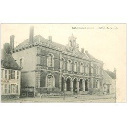 carte postale ancienne 02 SISSONNE. Hôtel de Ville 1907 et Billard