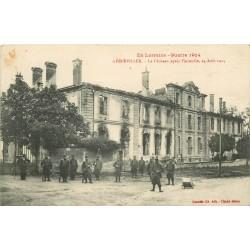 WW 54 GERBEVILLER. Le Château après l'incendie de 1914 avec Militaires