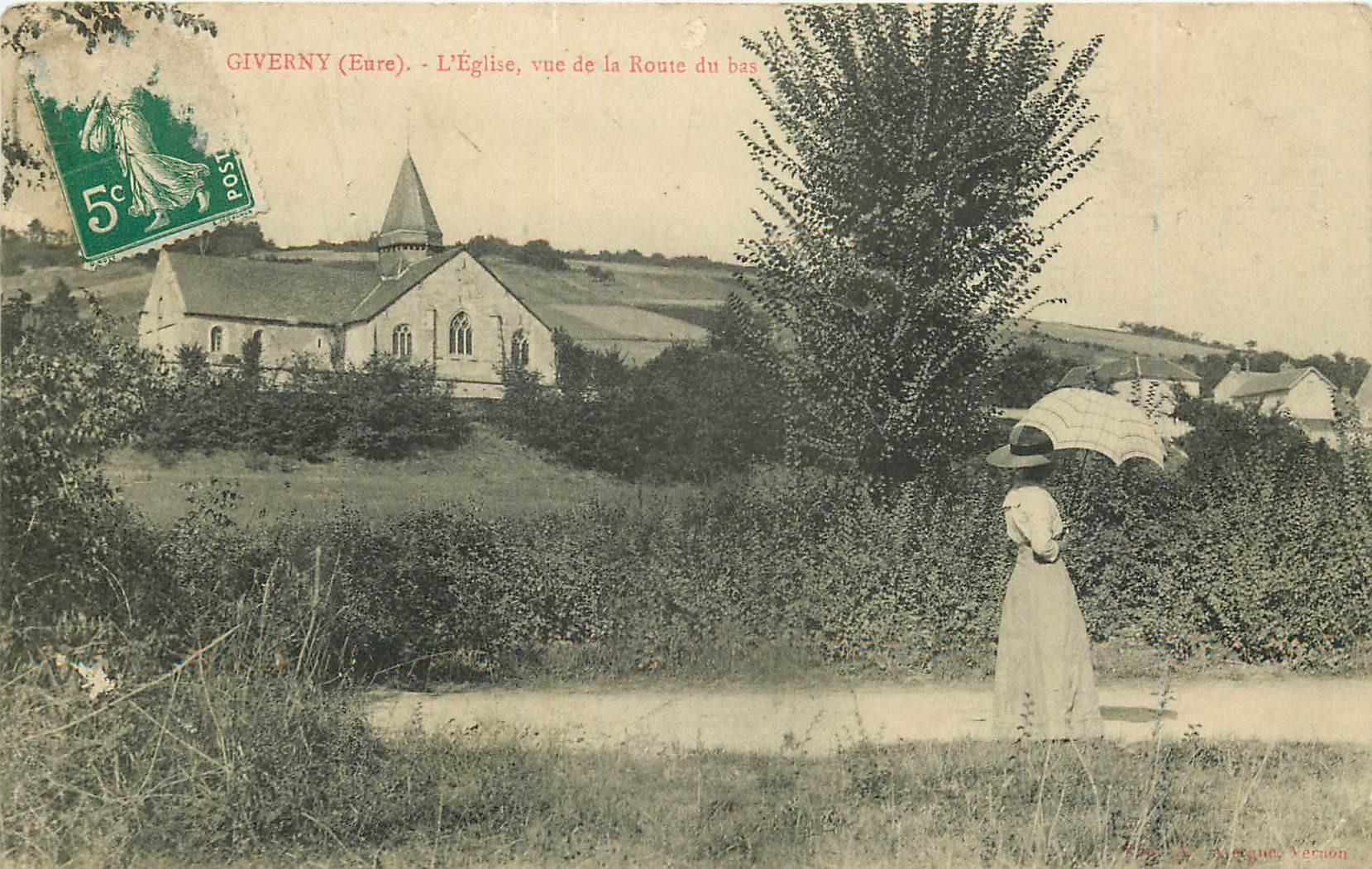 WW 27 GIVERNY. Eglise et Femme sur la Route du bas
