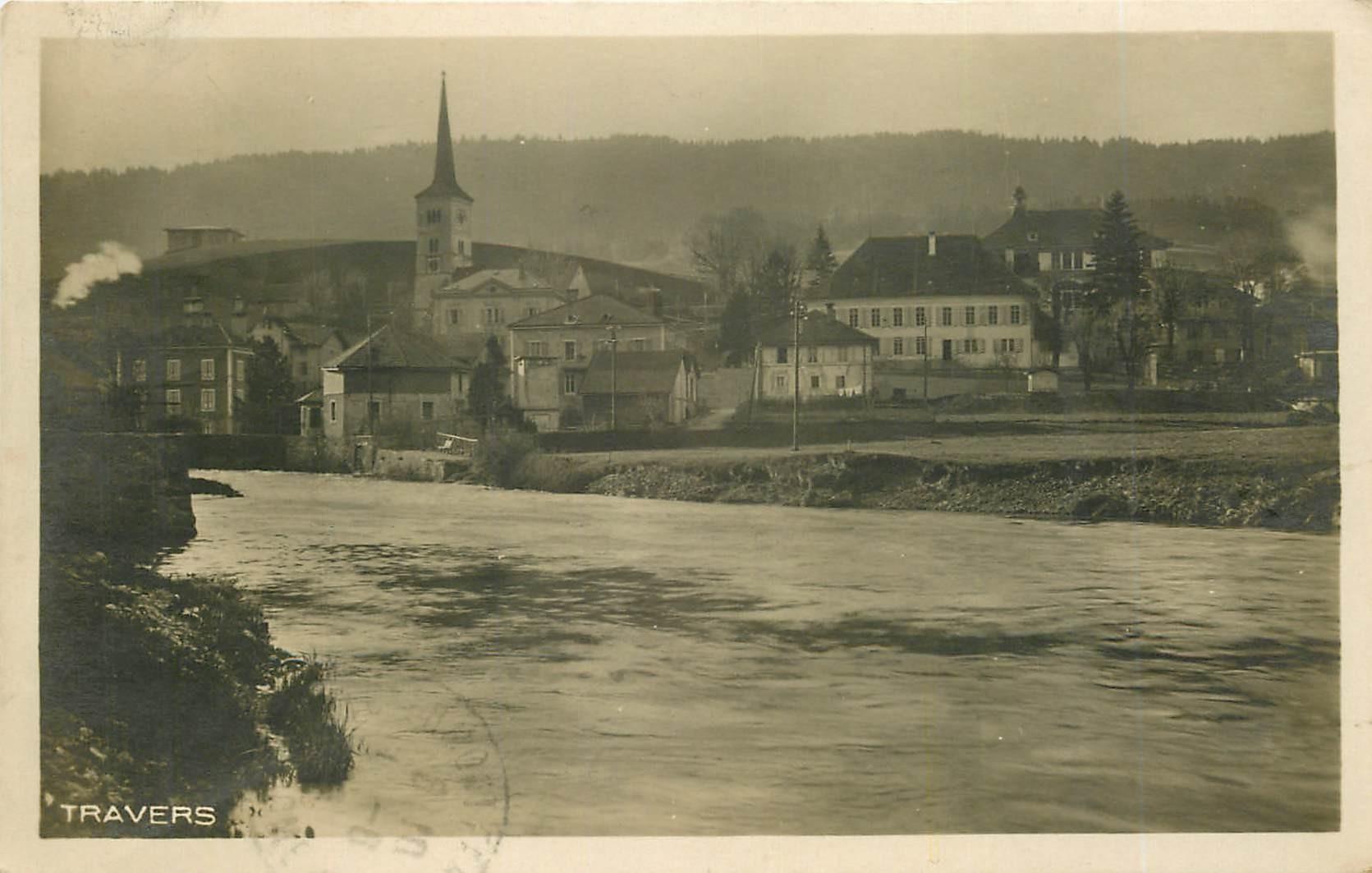WW TRAVERS. Vue du Fleuve et de la Ville en Suisse 1925