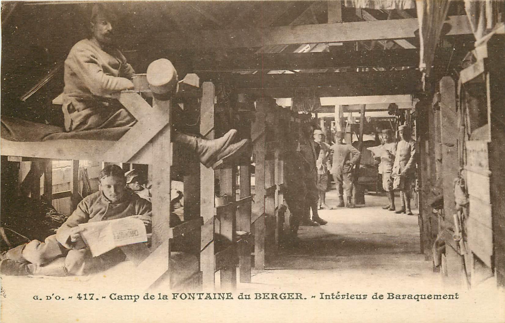WW 63 CAMP DE LA FONTAINE DU BERGER. Militaires au Baraquement 1927