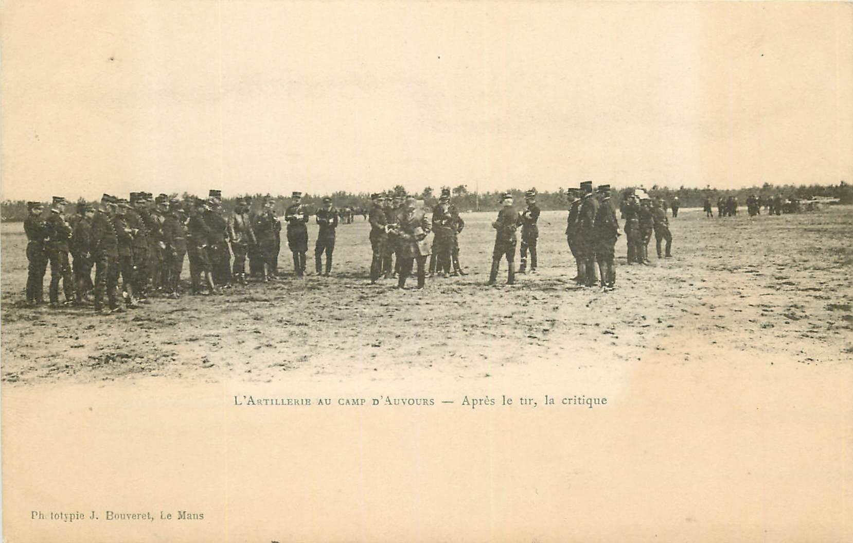 WW MILITAIRES. Artillerie au Camp d'Auvour après le tir, la critique...