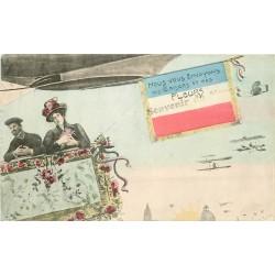 WW MAROC AVIATION. Souvenir du Maroc avec Drapeau français, Aéroplanes et Dirigeable
